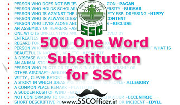 500 Important One Word Substitution in PDF - Download Now- SSC Officer