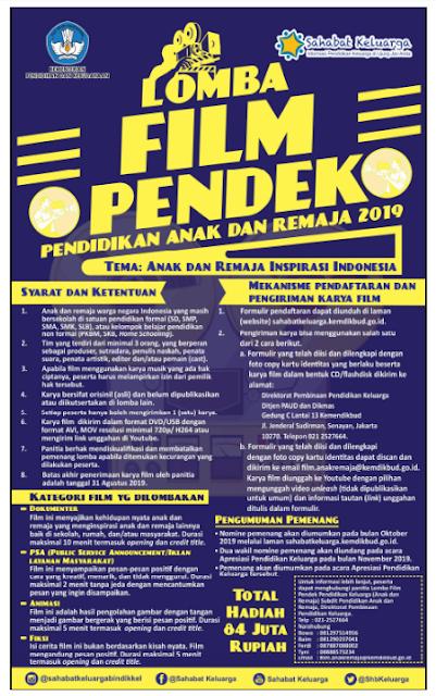 INFO LOMBA FILM PENDEK PENDIDIKAN ANAK DAN REMAJA KEMENDIKBUD TAHUN 2019