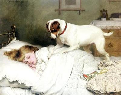 Спящая девочка с собакой картина  Charles Burton Barber