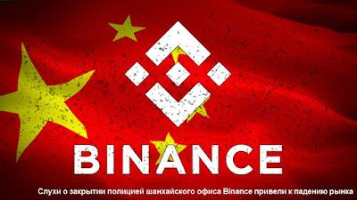 Слухи о закрытии полицией шанхайского офиса Binance привели к падению рынка