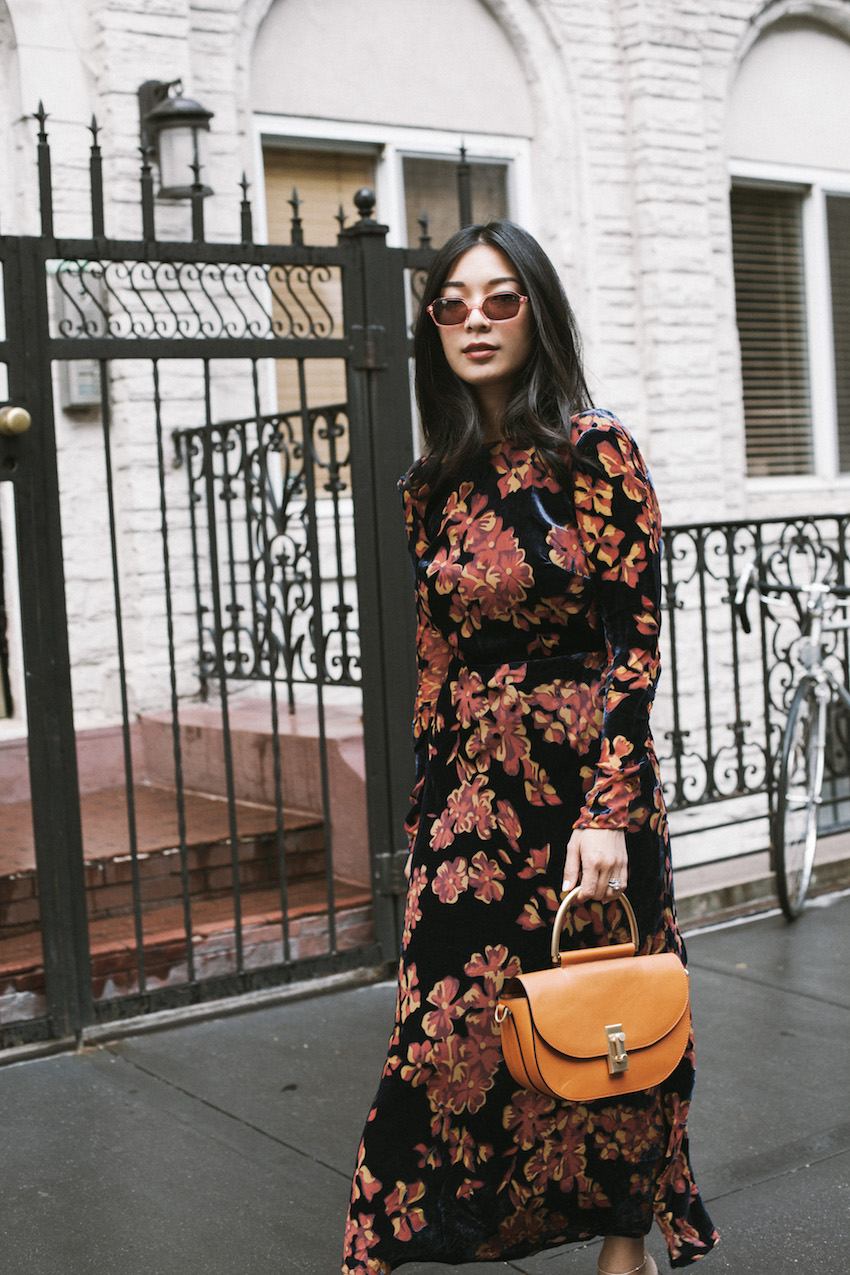 Stephanie Liu Hjelmeseth of Honey & Silk wearing Saloni Tina Dress & Dorateymur Munise Mules