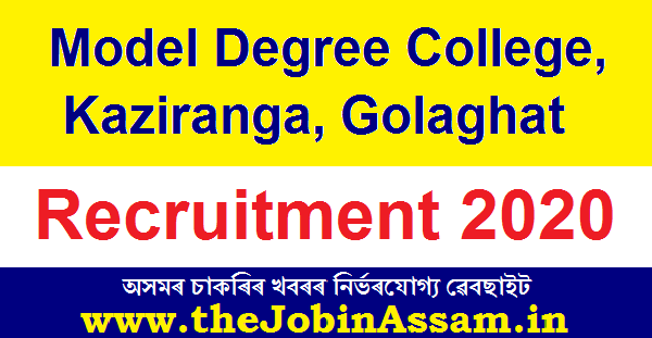 Model Degree College, Kaziranga Recruitment 2020: Apply For Principal Post