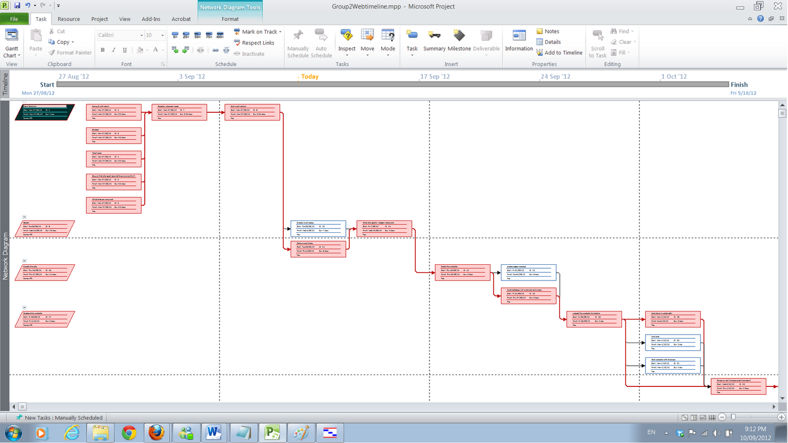 network diagram ms project 2010 [ 1600 x 900 Pixel ]