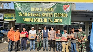 Kodim 0503/JB Adakan Kegiatan Bhakti Sosial Dilokasi Kebakaran Taman Kota