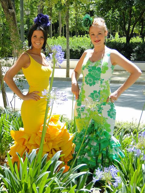 Traje de flamenca verde y amarillo