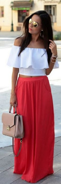 off shoulder top with a skirt
