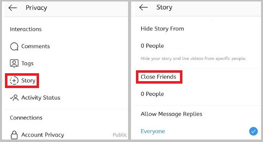 Share story with Close Friends
