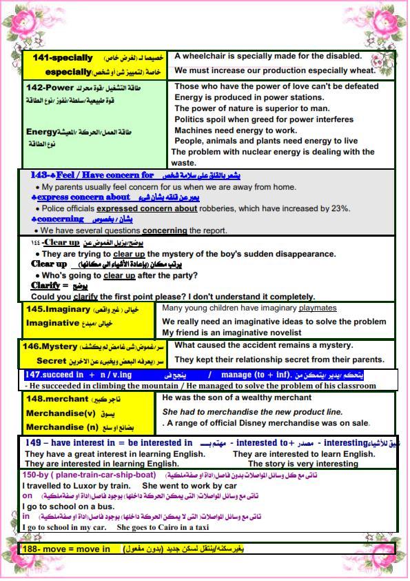 كل الملاحظات اللغوية في اللغة الانجليزية للصف الثالث الثانوى مستر. عصام وهبة 16