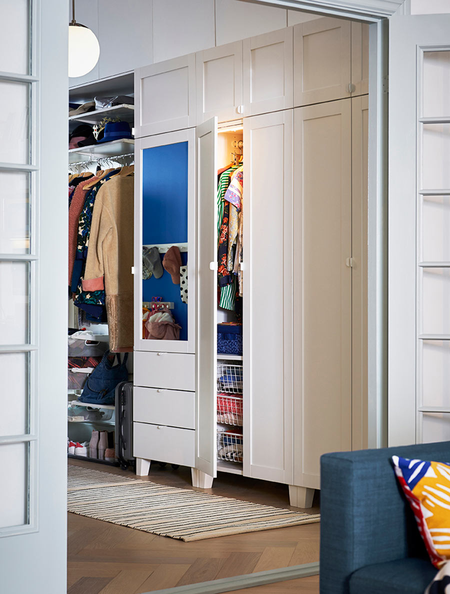 novedades catálogo ikea 2020 vestidor recibidor blanco almacenaje