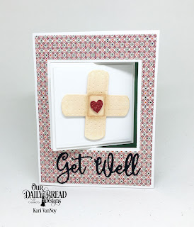 Our Daily Bread Designs Custom Dies: Bandages, Get Well Soon, Lever Card, Lever Card Layers, Paper Collections: Beautiful Boho, Boho Bolds