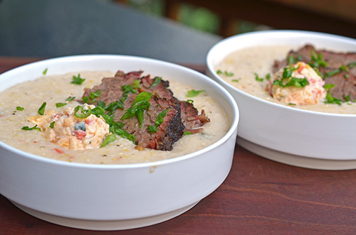 Green chile brisket with pimento cheese grits will make your tongue slap the brain out of your head.