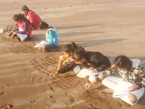 No need of blackboard and notebook at the school of onjal village on sea beach