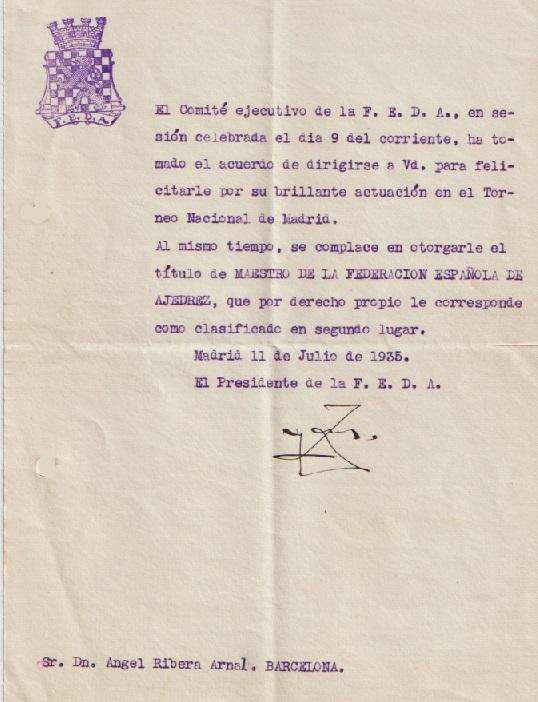 Escrito dirigido a Àngel Ribera, julio de 1935