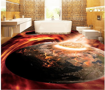 3D floor murals for bathroom flooring with epoxy painting
