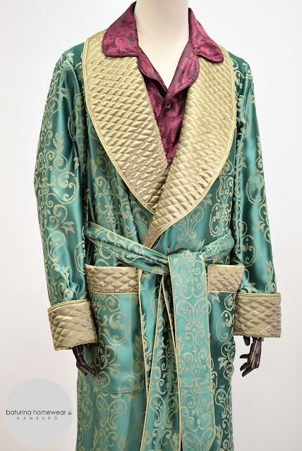 mens paisley silk morning robe pajamas set dressing gown gentleman english smoking jacket housecoat