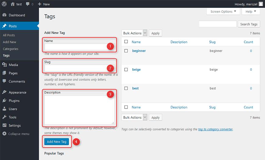 Membuat Tags WordPress Baru