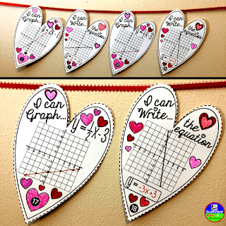 Valentines Day algebra math pennant activity for graphing linear equations