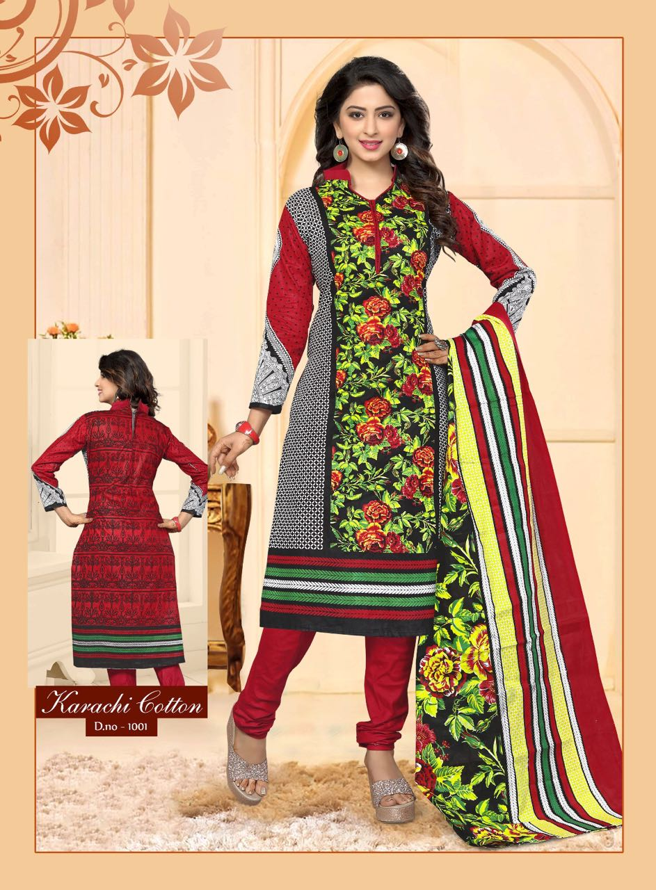Begum – Wonderful Churidar Designer Karachi Cotton Dress Material