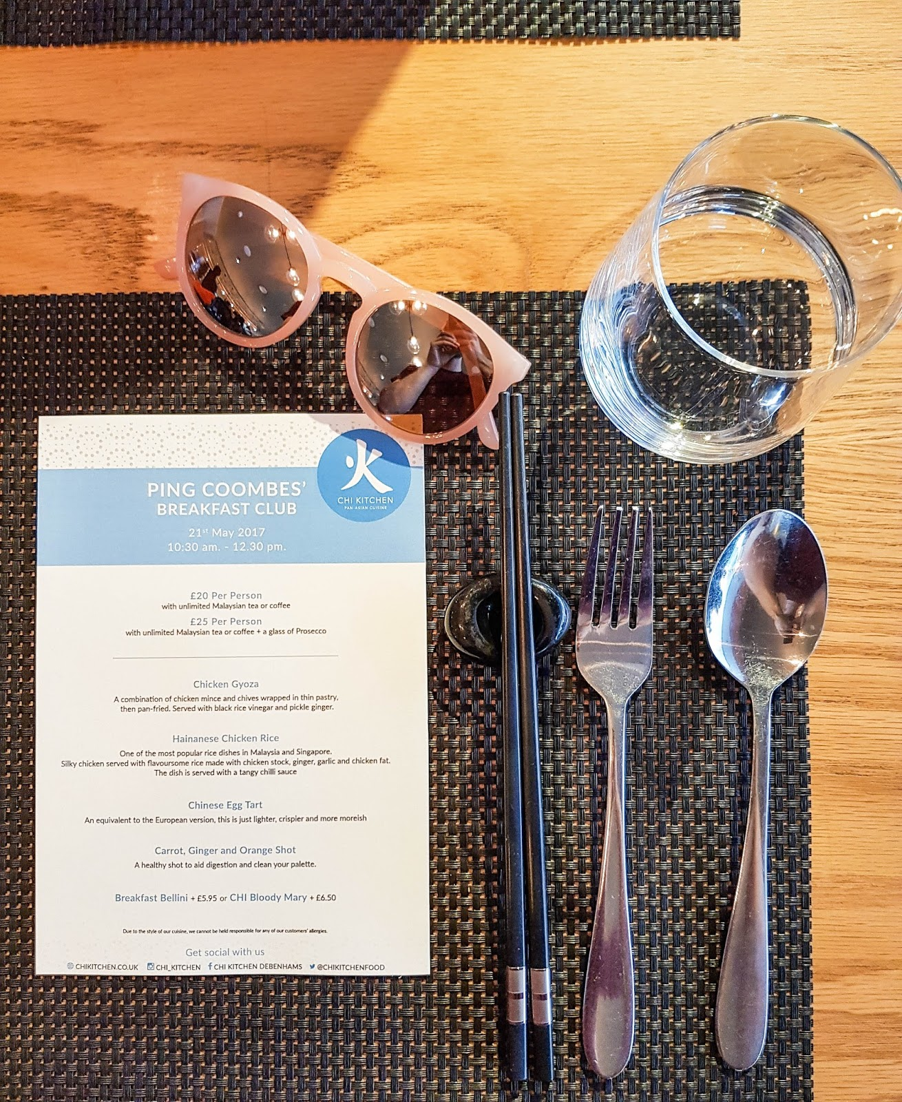 Ping Coombes' Breakfast Club menu at Chi Kitchen, London