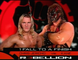 WWE / WWF Rebellion 2000 - Kane's match with Chris Jericho was weirdly billed as '1 fall to a finish' despite most matches being one fall