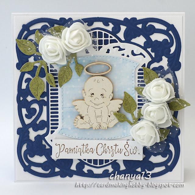 310. Granatowa kartka na chrzest
