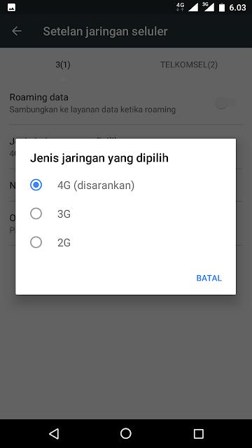 Cara menetapkan Jaringan 4G untuk digunakan.