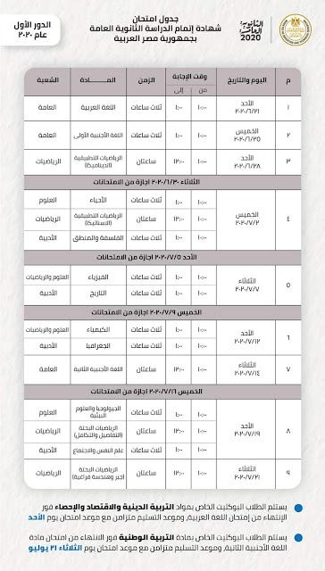 جدول إمتحانات الثانوية العامة 2020