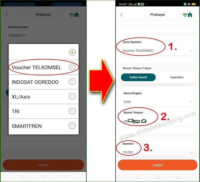 cara beli pulsa pakai mobile banking bni