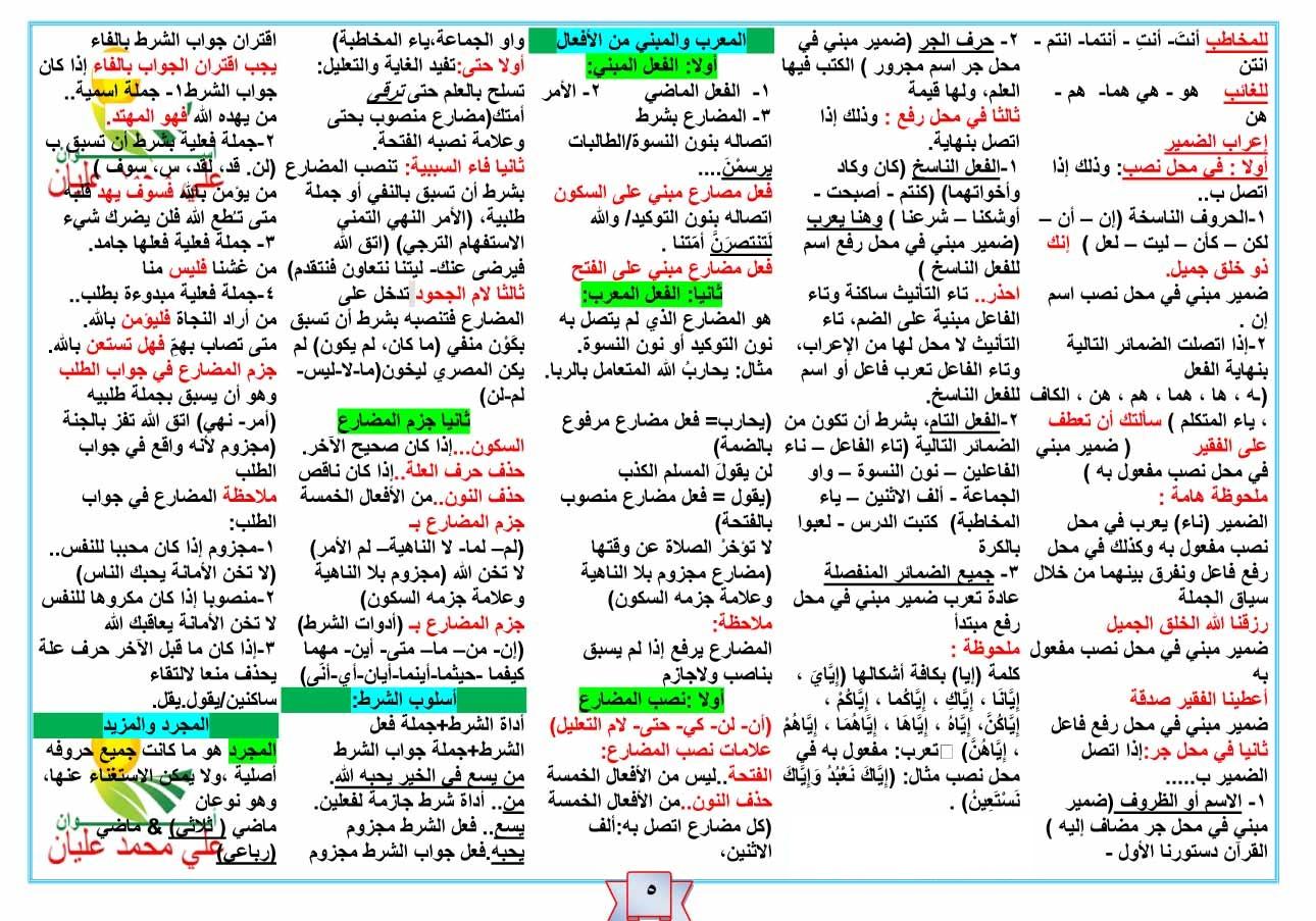 ملخص قواعد اللغة العربية للسنة الرابعة متوسط pdf