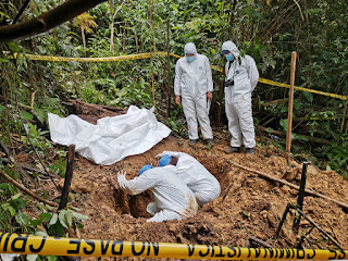 Police exhume a mass grave linked to a religious cult in remote Panama.(Panama Public Prosecutor)
