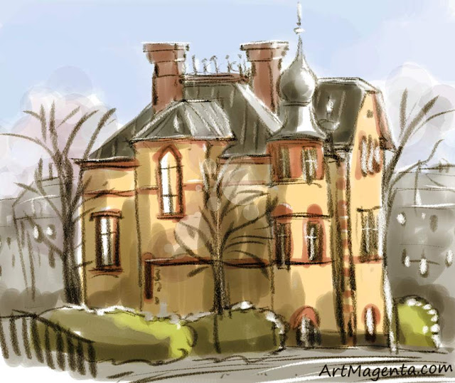 The old house in the city is a sketch by artist and illustrator Artmagenta