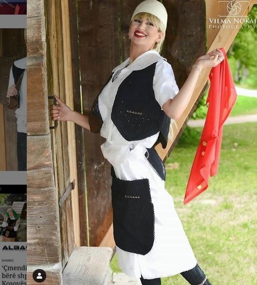 Miss Serbia, Irina Jovanka poses in Albanian traditional clothing and 'Plis'