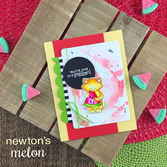 One in a Melon Cat and Watermelon Card by Zsofia Molanar | Newton's Melon Stamp Set, Fancy Edges Tag Die Set and Framework Die Set by Newton's Nook Designs #newtonsnook #handmade