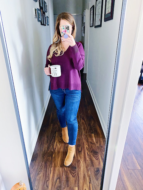 purple sweater outfit fall, burgundy sweater outfit autumn, burgundy sweater outfit autumn boots