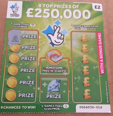 £2 Green National Lottery Scratch Card