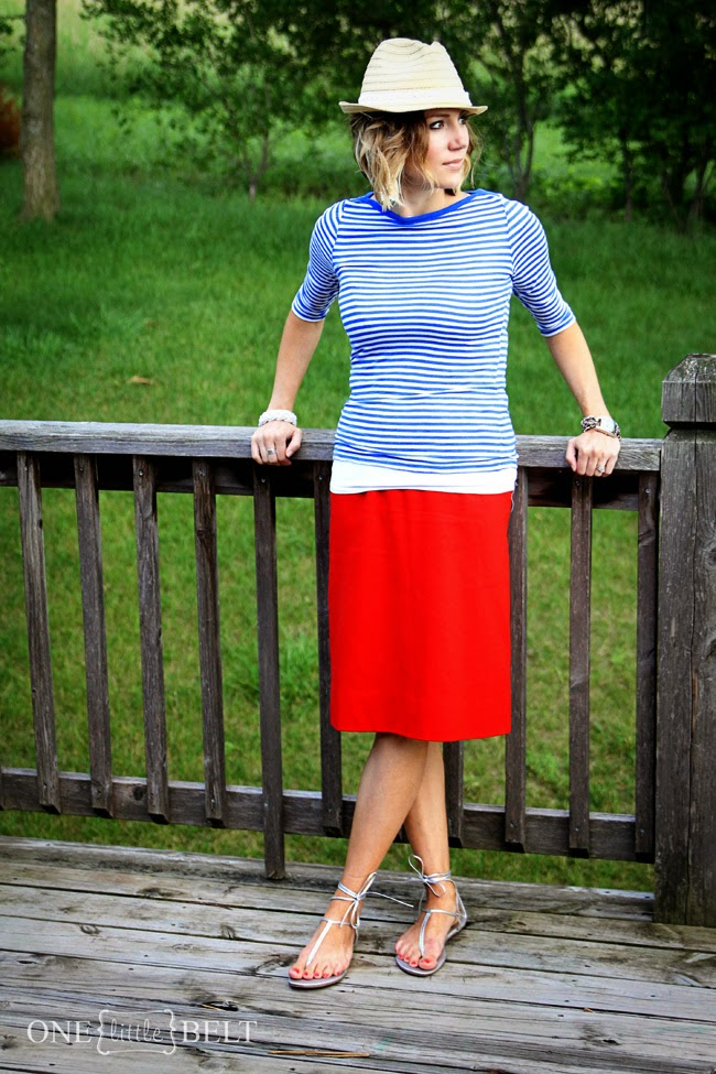 Blue stripes, red skirt, and fedora