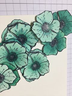 Fussy cut flowers coloured with Blends from Amazing You stamps Stampin Up