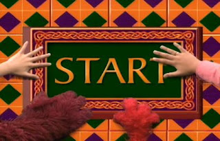 Elmo, Telly, Gabi and Alice appear on the scene, they find the word that is start for The Great Numbers Game.