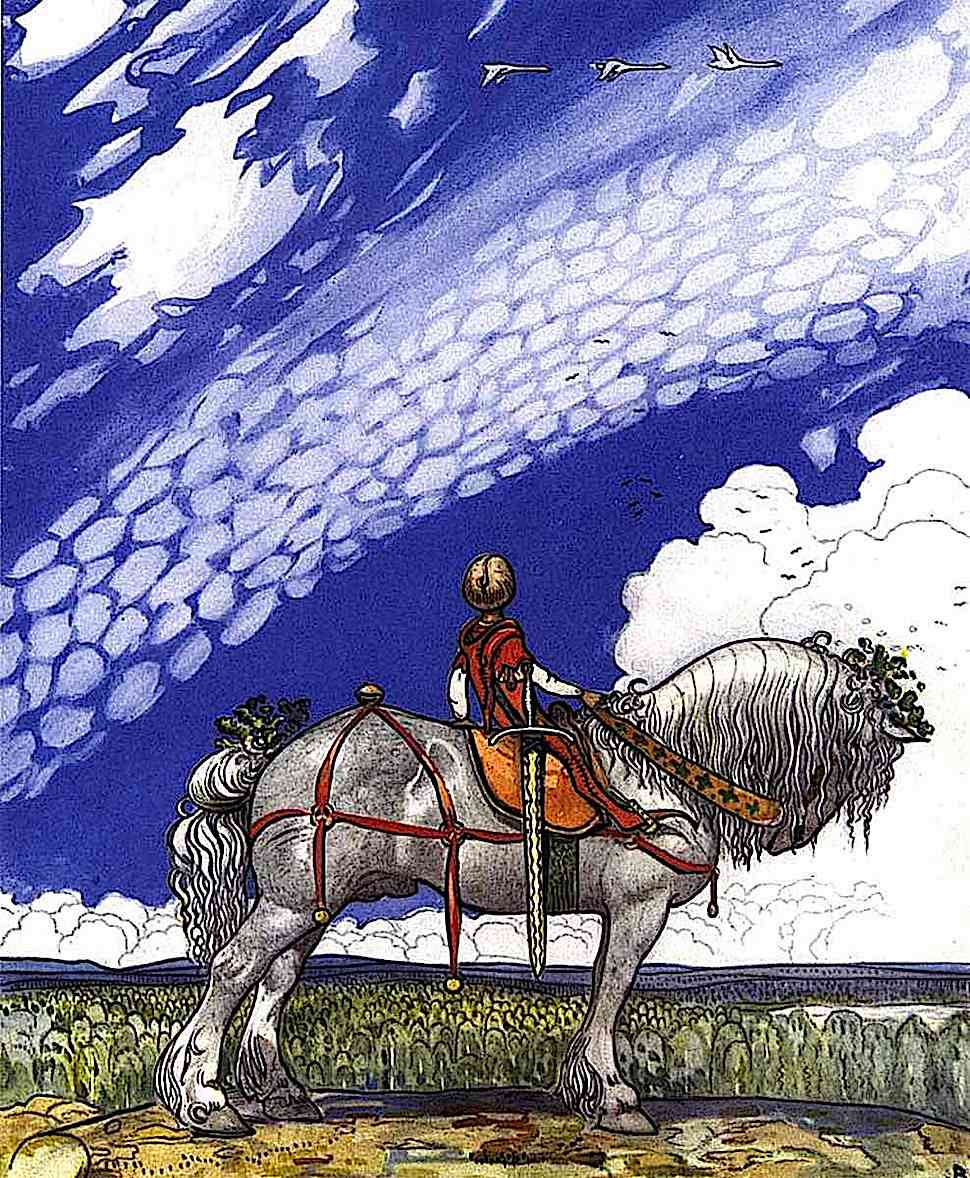 a John Bauer book illustration of a boy on horse looking at the sky