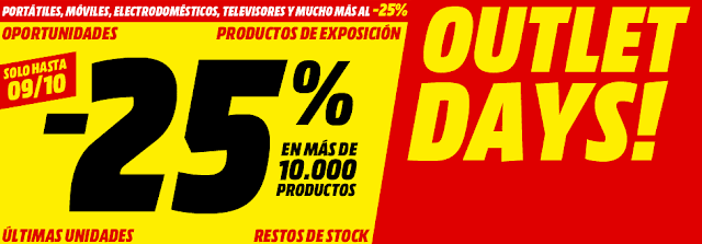 Top 5 ofertas folleto Outlet Days! de Media Markt
