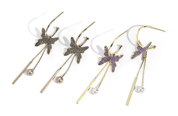 多造型氣質紫灰鑽蝴蝶流蘇耳環
