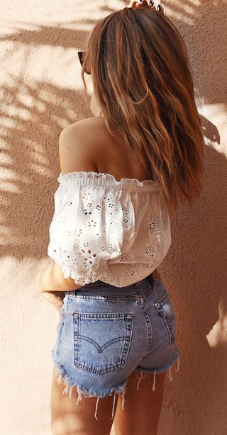 boho style outfit idea: off shoulder top + denim shorts
