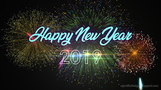 Happy New Year 2019 Night Light And Colorful Fireworks Illustration