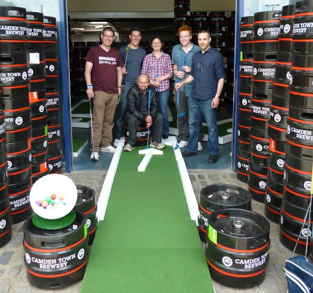 The Brewmaster's Open miniature golf competition at the Camden Town Brewery in London