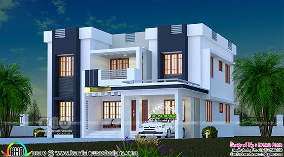Cute 3 bedroom flat roof decorative home 2040 sq-ft