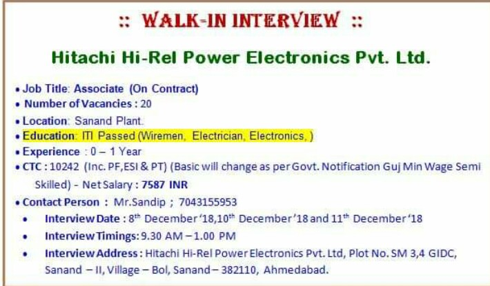 Wireman, Electrician ,Electronic  ITI Jobs in Hitachi Hi-Rel Power Electronics Pvt. Ltd