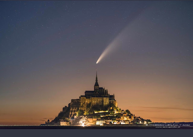 Night at Mt. Saint-Michel, France and Neowise