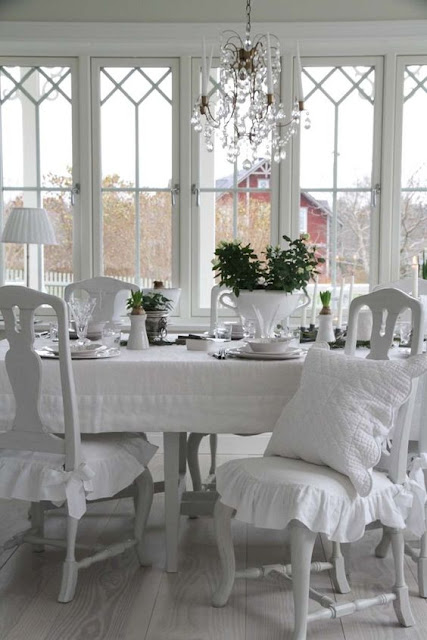 Breathtaking beautiful Swedish style Gustavian style dining room with calm, peaceful decor - found on Hello Lovely Studio