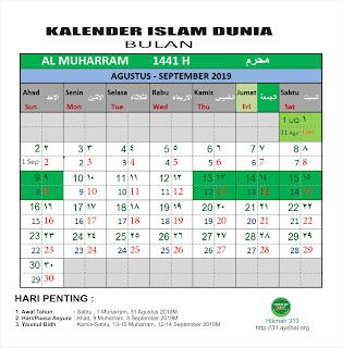 Kalender Islam Dunia Bersatu Bulan Muharram 1441 Hijriah