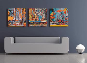 abstract art, urban abstract, large wall art, contemporary, modern, canvas art, triptych, artwork, artist, Sam Freek, multi coloured,